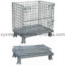Cage de rangement à mailles métalliques pliable pour entrepôt