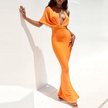 One Shoulder Orange Bandage Bodycon Drape Maxi Wrap Sexy Evening Dress