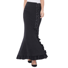 Belle Poque Womens Victorian Style High Stretchy Nylon-Cotton Vintage Retro Ruffled Fishtail Mermaid Black Long Skirt BP000203-1