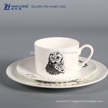 Owl Painting Logo Customized Cheap White China Plates, Cup And Plate Divided Plates Dishes