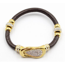 Black Gunine Leather Bracelet with Gold Stainless Steel Charm and Clasp