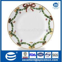 2015 produtos quentes pratos de porcelana de design de grinalda de Natal para o natal