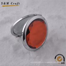 La moda compone el espejo compacto decorativo del diamante del metal de la aduana