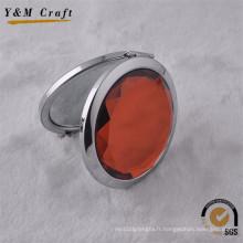 Mode composent le miroir compact décoratif fait sur commande de diamant de métal