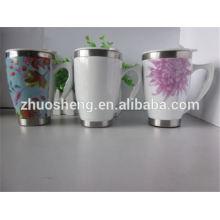 nuevos productos 2015 innovador producto promocional blanco de cerámica taza con asa de viaje