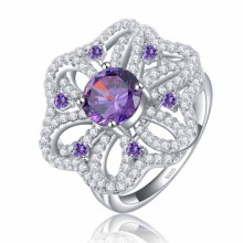 Misstypurple Zircon Micro Paved Big Size Flower Shape Silver Ring