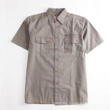 Chemise kaki à manches courtes pour hommes