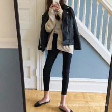 High waisted slim and elastic jeans
