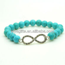 2013 turquoise 8MM Round Beads Stretch Gemstone Bracelet with Diamante 8 shape in the middle