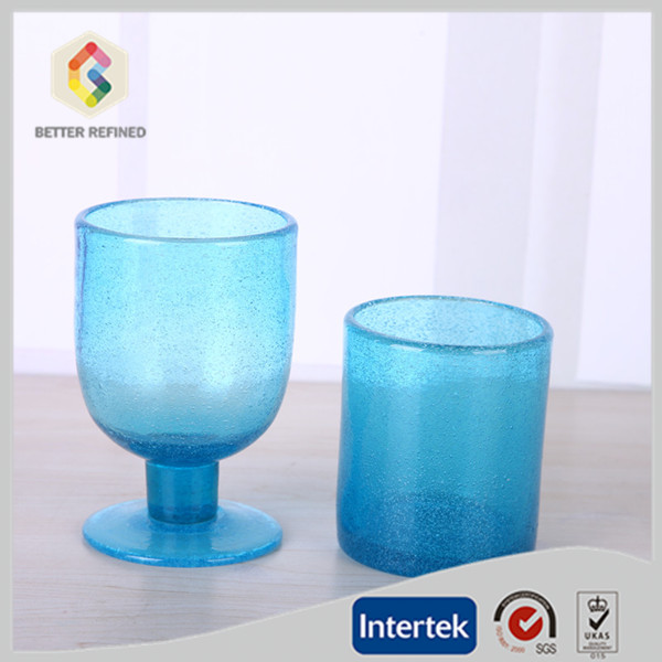 bubble blue glass cup