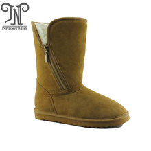 Waterproof winter sheepskin leather flat boots with zipper