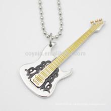 Esmalte de enchimento aço inoxidável prata guitarra em forma de colar de pingente