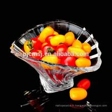 2015 vaisselle en cristal de mode en gros, plat en cristal pour le fruit, en forme de coquille