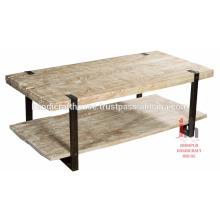 Industrieller Holz und Metall breiter 2-stöckiger Couchtisch