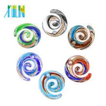 MC0036 Arena Multi-Color Flat Swirl Glass charm Colgantes oro Lampwork 12pcs / caja