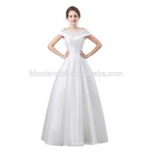 Neues Design auf Lager Hochzeitskleid Kappe Schulter geschnürt Satin Ballkleid sexy Abendkleid Muster