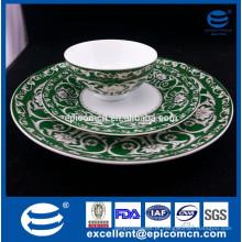 Easterm decoração de ouro de luxo tigela de porcelana de porcelana, pratos laterais e bandejas de carne