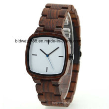 Small Wrist Wood Square Women′s Wooden Watch with Japan Movement