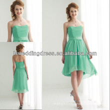HC2225 Cheap strapless sleeveless sweetheart neck satin band short front back long knee length mint green chiffon prom dresses