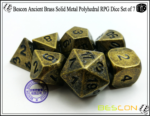 Bescon Ancient Brass Solid Metal Polyhedral RPG Dice Set of 7-5