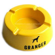 Cendrier rond en mélamine jaune avec logo