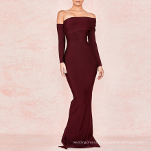 Wine Draped Shoulder Bodycon Tube Cut Out Strapless Maxi Bandage Dress