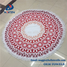 Multi-purpose 100% cotton large circle round beach towel with fringe tassel