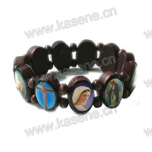 Ellipse Dark Coffee Religious Wooden Rosary Bracelet with Saint Picture