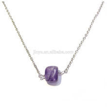 Fashion Boho Natural Stone Amethyst Layering Necklace