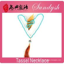 Handmade Bohochic Fabric Tassel Pendant Turquoise Beaded City Gypsy Jewelry