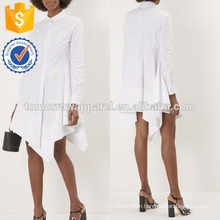 New Fashion White Shirt Dress With Handkerchief Hem Manufacture Wholesale Fashion Women Apparel (TA5252D)