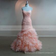 Ruffle blush rosa larga pieza boob tubo vestido de noche vestido de noche