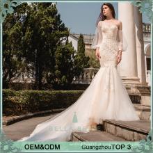 2017 Um ombro de sereia de renda vestido de casamento de trompete de trompete com trem de corte