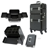 2 in 1 quality rolling makeup case