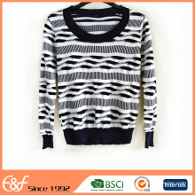 Black And White Lightweight Womens Pullover Sweater For Spring