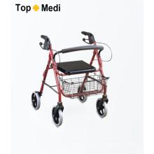 Topmedi Equipamento médico dobrável Rollator de alumínio com cesta