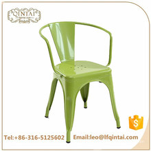 Wholesale cheap green industrial iron bar chair with arms Restaurant Stackable Metal Chair Retro Chairs For Sale