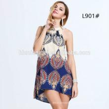 Nouvelle conception Halter en mousseline de soie Designs Summer Beach Mini-robe courte femme Déguisements