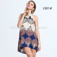 New Chiffon Halter Frock Designs Summer Beach Short-length Mini Dress Women Fancy Dress