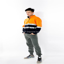 Vêtements de travail en laine polaire orange avec réflecteur orange