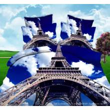 Tissu d'impression de Planel de la tour Eiffel 3D pour le drap
