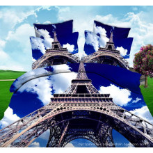 Eiffel Tower 3D Planel Printing Fabric for Bedsheet