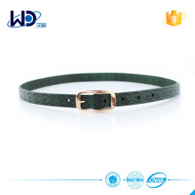 Dark green leatehr thin belt with golden pin buckle
