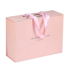Custom Pink Magnetic Flip Gift Box With Ribbon Handle Flat Shipping