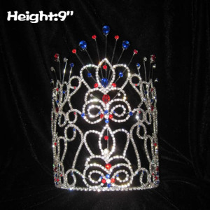 Wholesale Red White Blue Diamond Pageant Crowns With Mask Shaped
