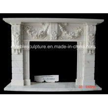 Hot Sale Hand Carved Marble Fireplace with Flowers (SY-MF155)