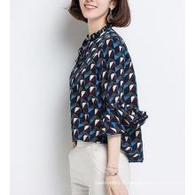 Top à motifs géométriques de printemps avec manches volantées Femme Top