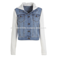 Fleece sleeves and jeans jacket fashion wear for party and club casual