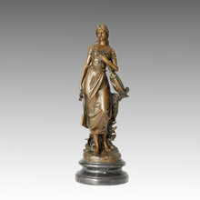 Female Indoor Home Decoration Bronze Sculpture Singer Brass Statue TPE-482