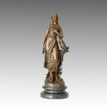 Decoração de casa interior feminino bronze escultura cantor estátua de bronze TPE-482